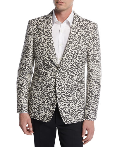 Faded Leopard Two-Button Sport Jacket, Black/White/Gray
