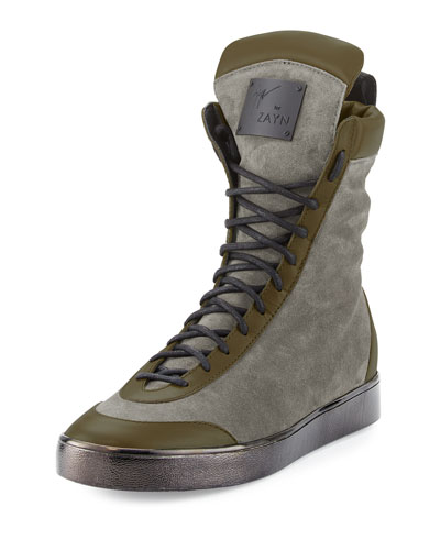 x Zayn Suede Boxing High-Top Sneaker, Moro/Brown