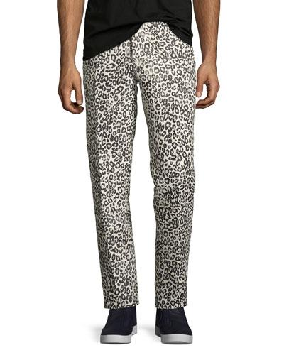 Leopard-Print Slim-Straight Pants, Black/White/Gray