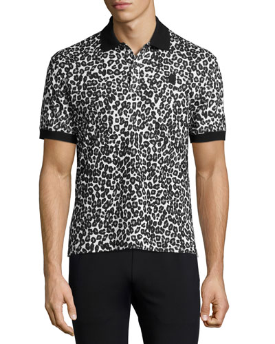 Leopard Piqué Polo Shirt, Black