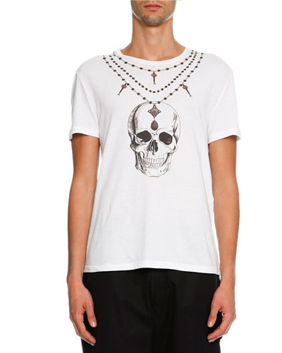 Skull Rosary Organic Cotton T-Shirt, White