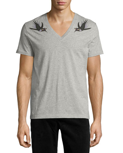 Bird-Print V-Neck T-Shirt, Gray