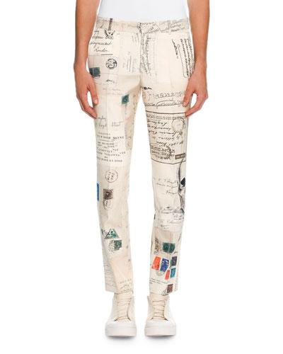 Postcard-Print Silk Slim-Straight Trousers, Ivory