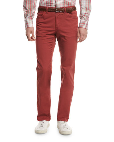 Five-Pocket Twill Pants, Red