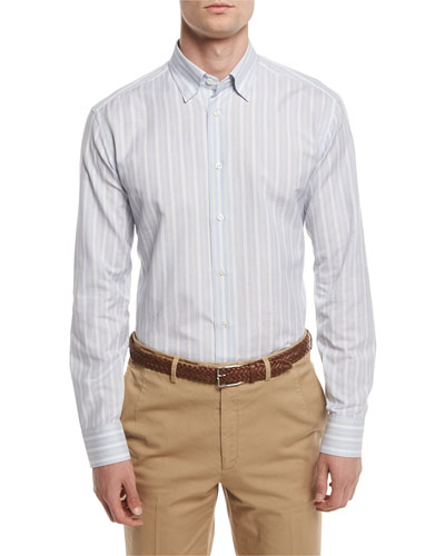 Striped Sport Shirt, Light Blue/Tan