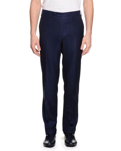 Cashmere Flat-Front Dress Pants, Navy