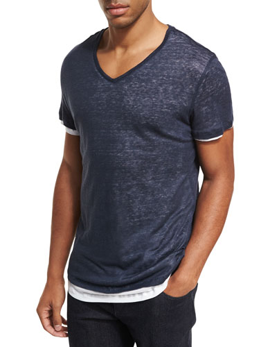 Double-Layer Linen & Cotton V-Neck T-Shirt