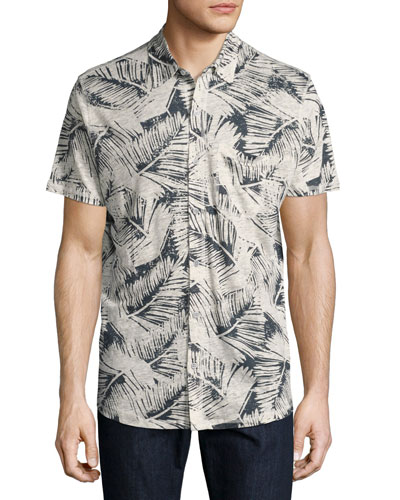 Leaf-Print Knit Short-Sleeve Sport Shirt, Blue/Natural