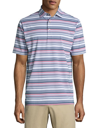 Wheaton Striped Performance Jersey Polo Shirt, Navy/Red/White