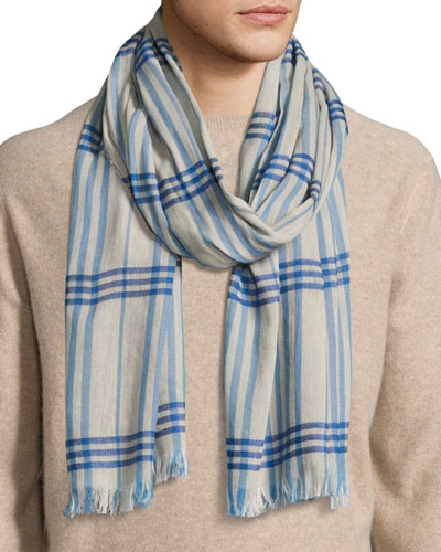 Cottlea Men's Plaid Cotton-Linen Scarf, Cream/Blue