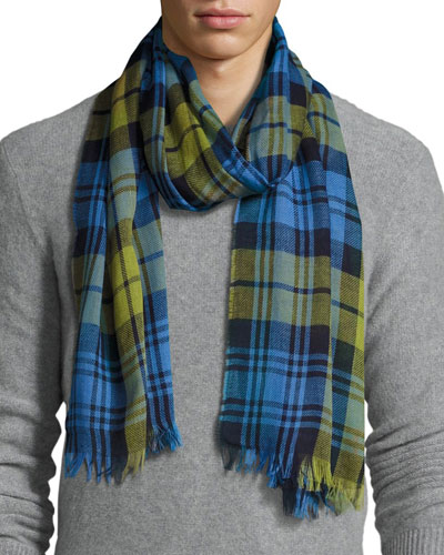 Cottlea Plaid Cotton-Linen Scarf, Blue/Green