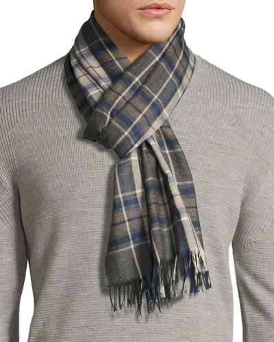 Tartan Plaid Cashmere Scarf with Fringe, Navy/Charcoal/Brown