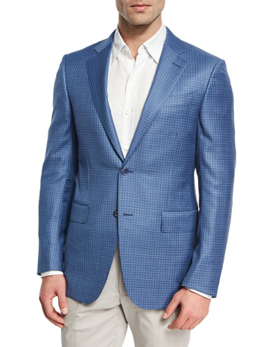 Check Two-Button Sport Coat, Blue/White