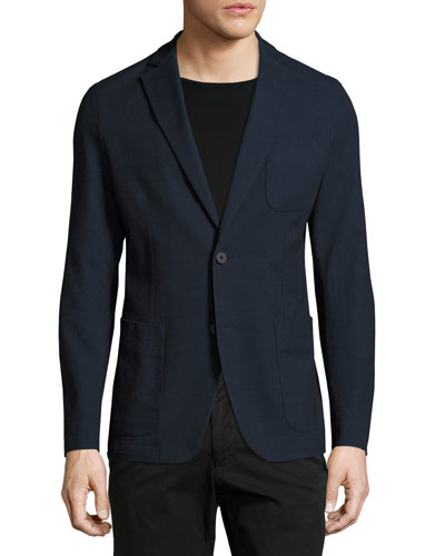 Stretch Cotton Sport Coat, Navy