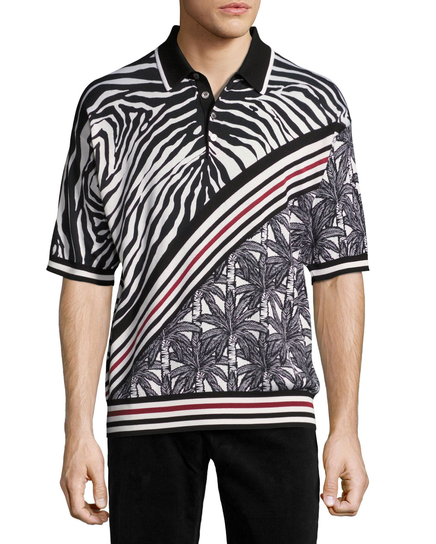 Zebra & Palm Tree Polo Shirt, Black/White/Red