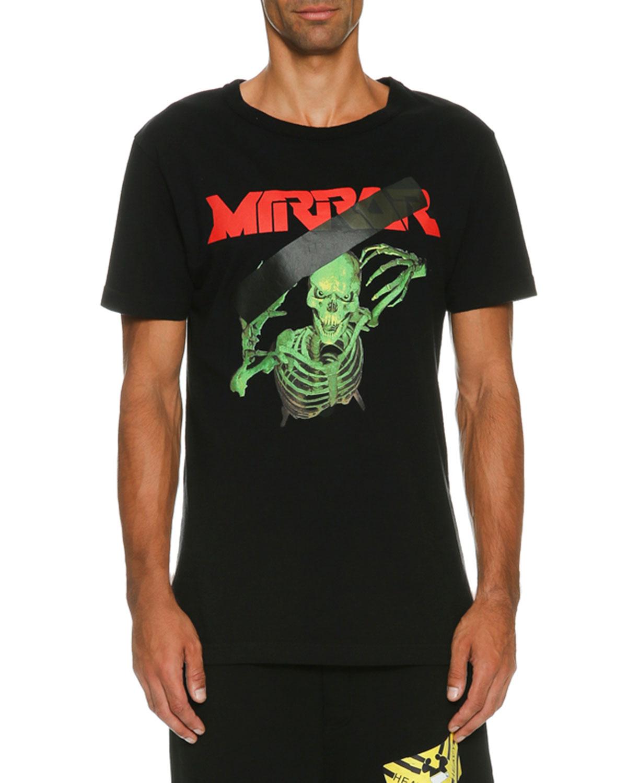Skeleton Mirror Logo T-Shirt, Black