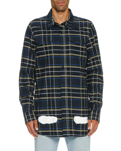 Spray-Paint Plaid Flannel Shirt, Blue/White