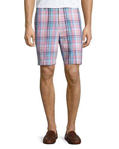 Manteo Madras Plaid Shorts, Pink/Blue