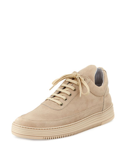Low-Top Monotone Stripe Sneakers, Beige