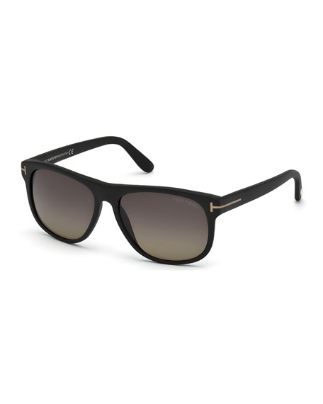 TOM FORD Olivier Polarized Soft Square Sunglasses, Black