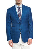 Windowpane Wool-Linen-Silk Sport Coat, High Blue