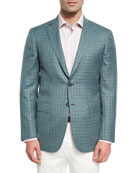 Check Wool-Silk Sport Coat, Light Green