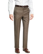 Sharkskin Wool Flat-Front Trousers, Brown