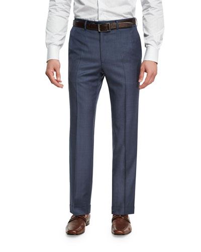Sharkskin Wool Flat-Front Trousers, Blue