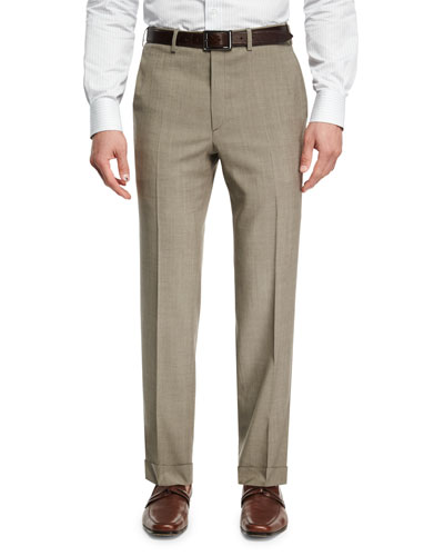 Mohair-Look Wool Flat-Front Trousers, Taupe