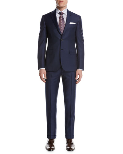 Windowpane Check Wool Two-Piece Suit, Blue