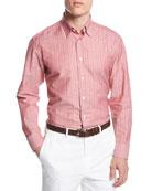 Cotton-Linen Striped Shirt, Red