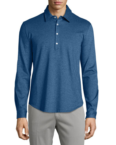 Long-Sleeve Pique Polo Shirt, Dark Blue