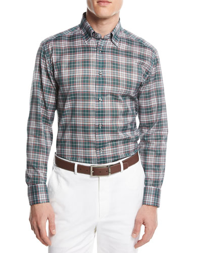 Plaid Button-Front Shirt, Green/Pink