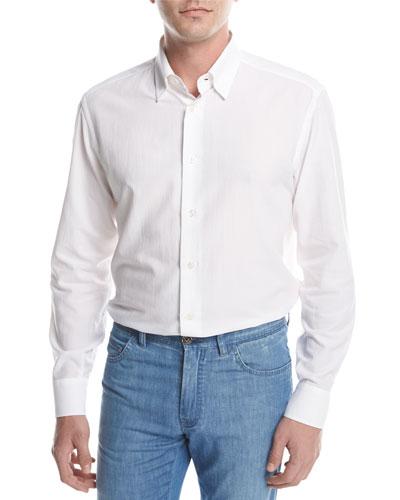 Textured Solid Sport Shirt, White