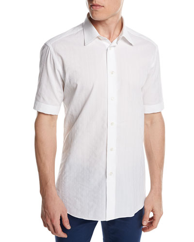 Short-Sleeve Plaid Jacquard Shirt, White