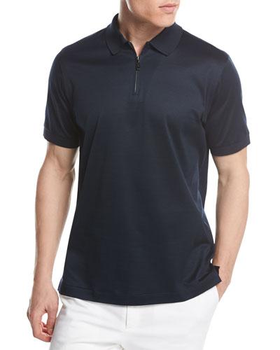 Cotton Zip Polo Shirt, Midnight Blue