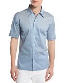 Piqué Knit Button-Front Shirt, Light Blue
