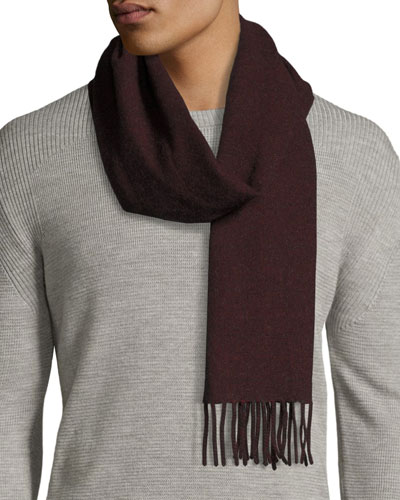 Lambswool-Angora Scarf, Deep Red