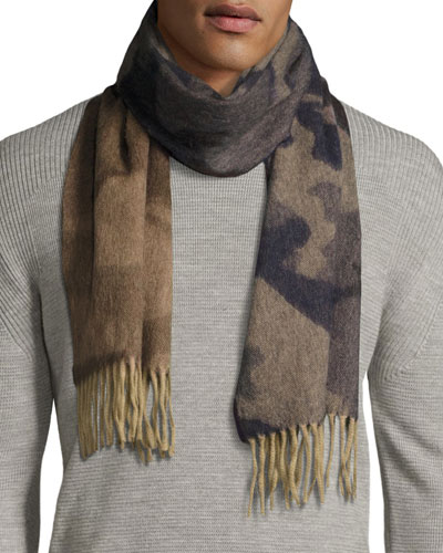 Camo Lambswool-Angora Scarf, Blue/Brown