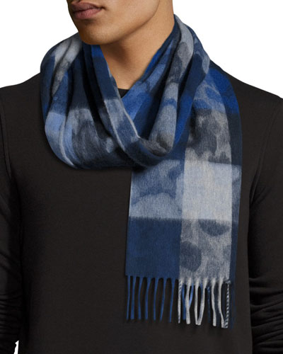 Box-Check Camo Lambswool-Angora Scarf, Blue