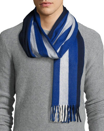 Striped Lambswool-Angora Scarf, Navy/White