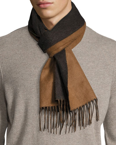 Langley Striped Lambswool-Angora Scarf, Brown