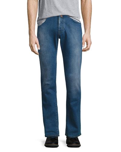 Slim-Straight Denim Jeans, Bright Blue