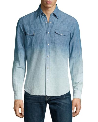 Chambray Degrade Western Shirt, Indigo