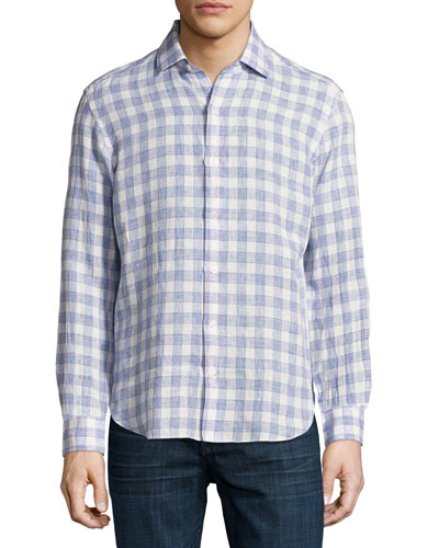 Plaid Linen Sport Shirt, White/Light Blue