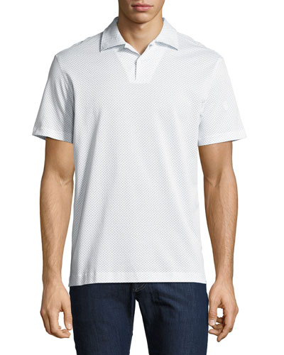 Printed Cotton Polo Shirt, White/Light Blue
