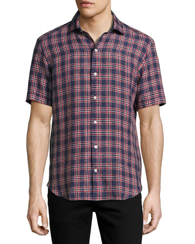 Plaid Short-Sleeve Sport Shirt, Navy/Brick