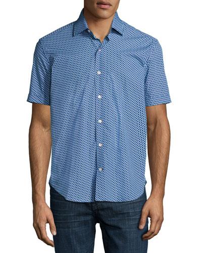 Flowers Short-Sleeve Sport Shirt, Navy/Aqua/White