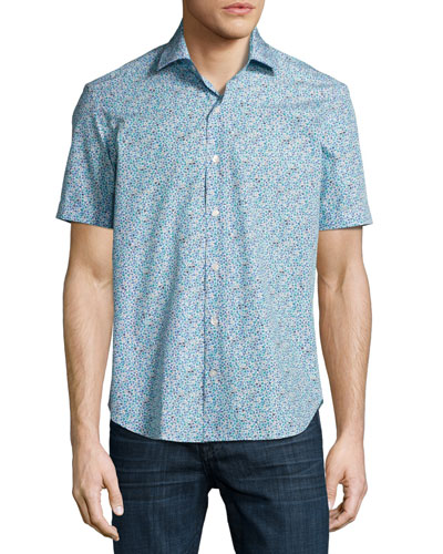 Floral Short-Sleeve Sport Shirt, White/Navy/Aqua