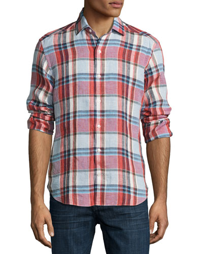 Plaid Linen Sport Shirt, Multicolor
